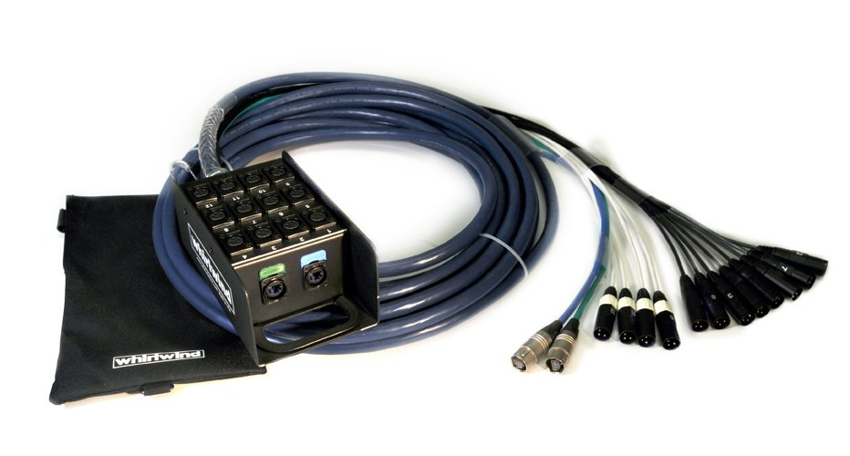 Medusa Data Snake with 12 XLR Inputs and 2 Cat6 Ethercon, 50 ft, Blue
