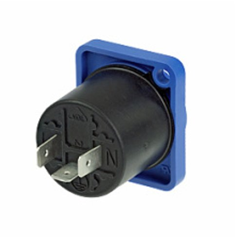 PowerCON Panel-Mount Receptacle Input without Insulation Divider, Blue