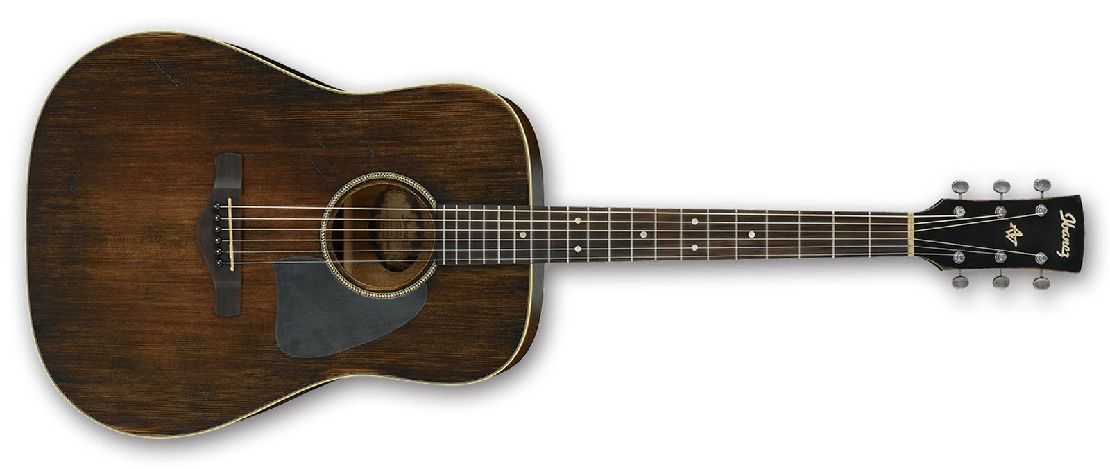 Artwood Vintage Acoustic Guitar with Distressed Tobacco Sunburst Finish