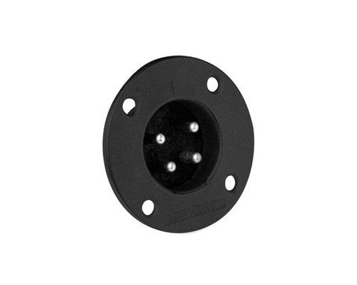 4-Pin XLR Male Metal Panel Mount Connector, Black
