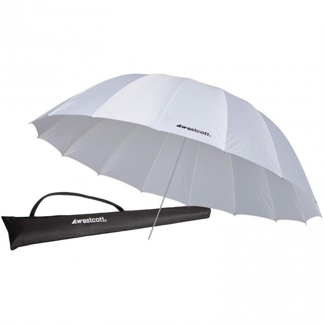 7' White Diffusion Parabolic Umbrella (2.1 m)