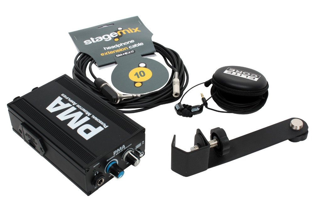 Station Pack with PMA Headphone Amplifier, EU-5X Earphones, 10 ft Cable
