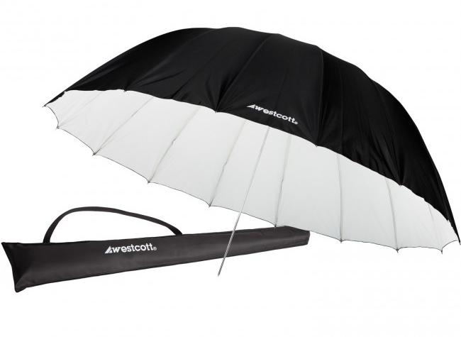 7' White/Black Diffusion Parabolic Umbrella (2.1 m)