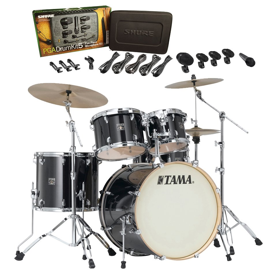 Superstar Classic Maple 5-Piece Shell Pack Brushed Charcoal Black with Free Shure Drum Mic Pack