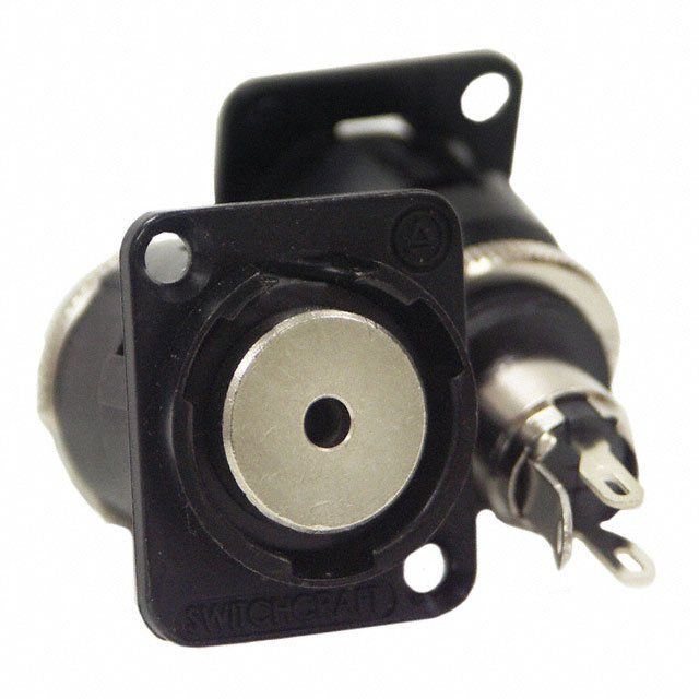 3.5mm 3-Conductor Panel Mount Connector with Mounting Screws, Black Finish