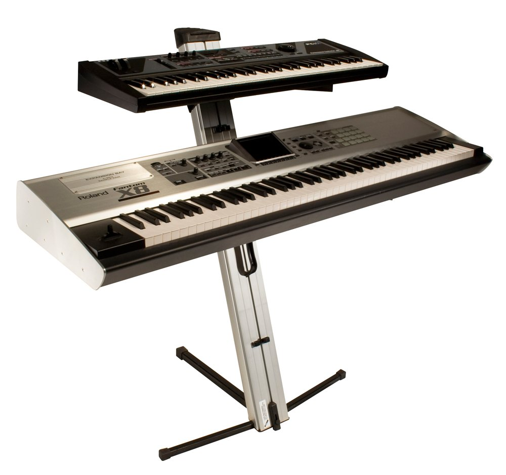 APEX Two-Tier Portable Column Keyboard Stand in Silver