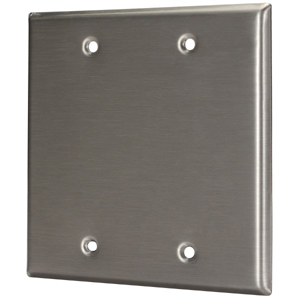 Plateworks Dual-Gang Black Anodized Aluminum Blank Wall Plate