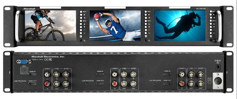 "Triple 5"" Rackmountable Monitor With HDMI, 3G-SDI And Composite Inputs"