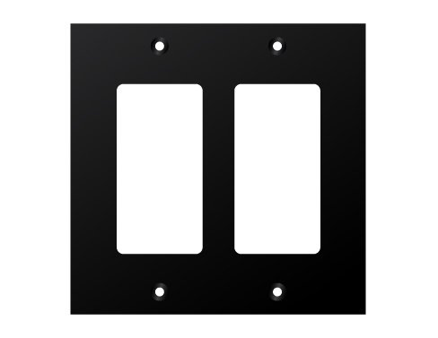 Two Decora Cutouts Black Double Gang Wall Plate