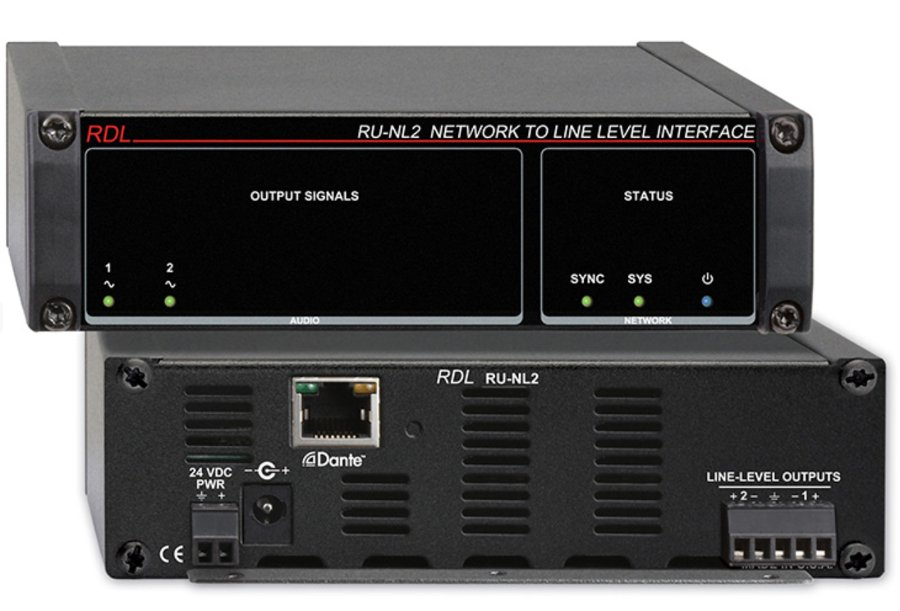 Network to Line Level Interface, Dante Input, 2 Balanced Outputs