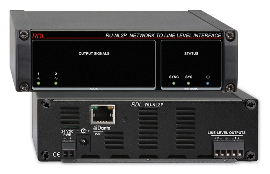 Network To Line Level Interface, Dante Input, 2 Balanced Out With PoE