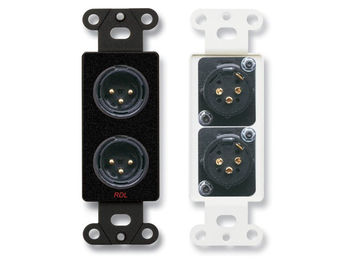 Decora Wall Plate with Dual Solder-Type 3-Pin XLR-M Jacks, Black