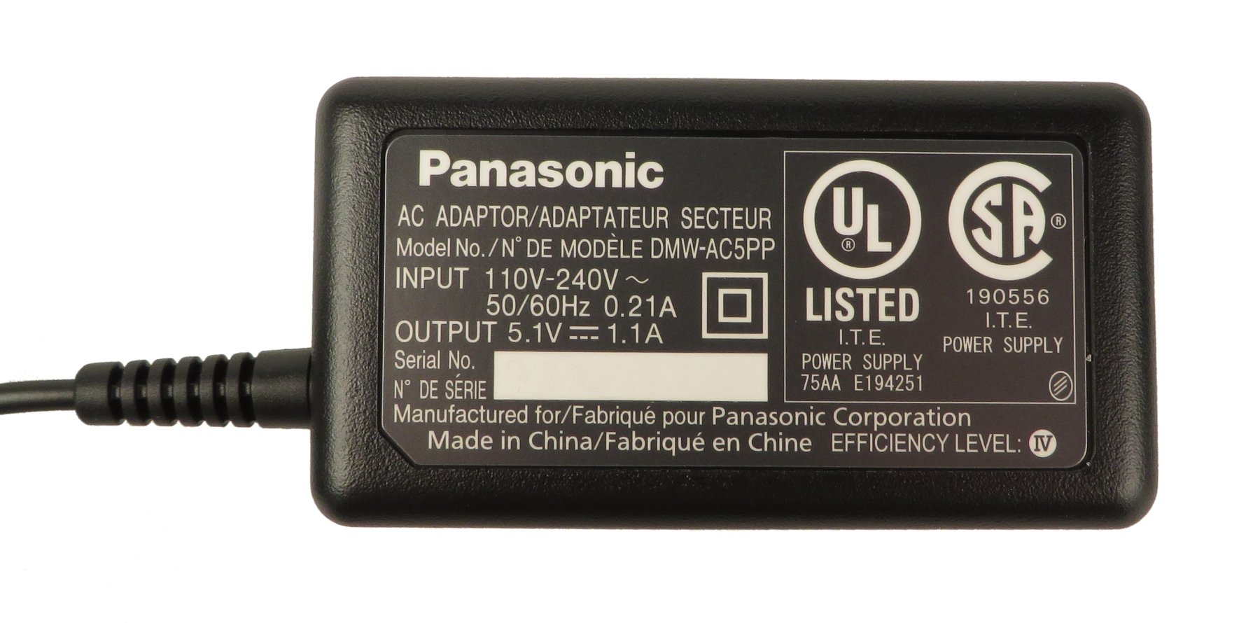 Panasonic DMW-AC5  AC Adaptor for DMC-LX5 DMW-AC5