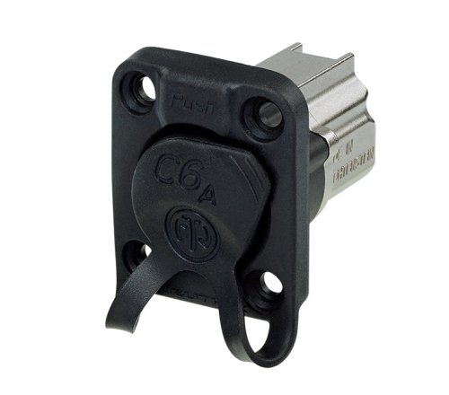 Neutrik NE8FDX-P6-W CAT6A Shielded Panel Connector with Rubber Sealing Cap and Nickel Housing NE8FDX-P6-W