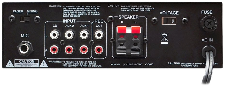 Pyle Pro PTAU55 Mini 2 x 120 W Stereo Power Amp with USB/SD Card Readers PTAU55