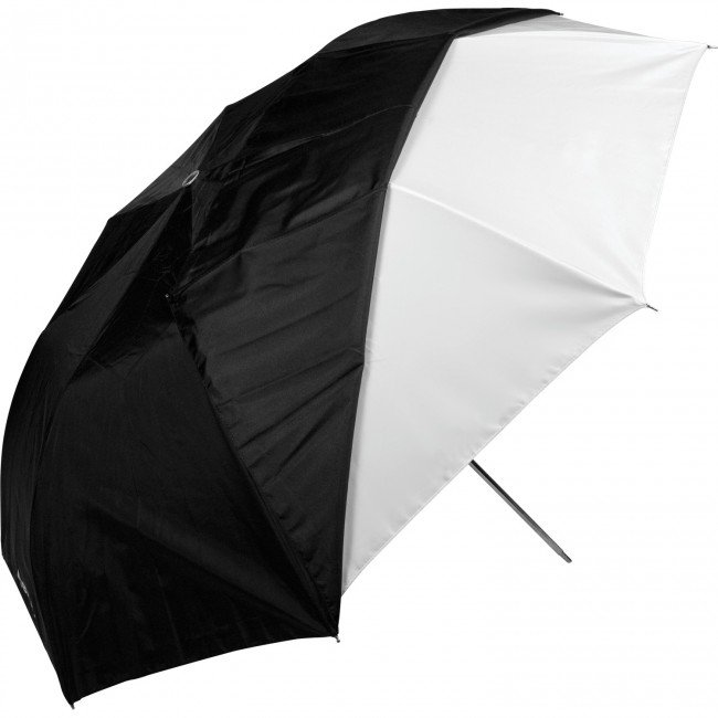 "43"" Optical White Satin Collapsible Umbrella with Removable Black Cover (109.2cm)"
