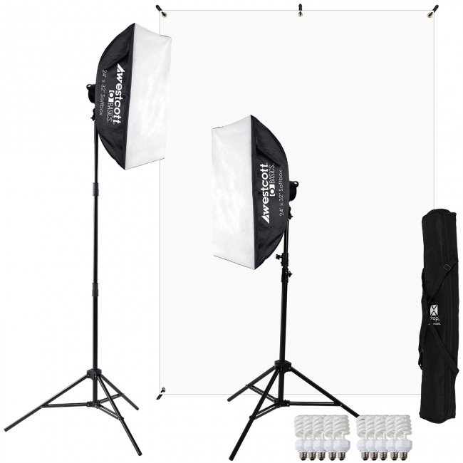 D5 2-Light Video Blogging Kit with X-Drop Stand and White Backdrop