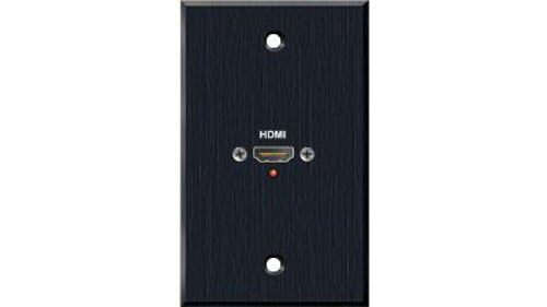 Precision Manufactured Single Gang HDMI Female Pass Through Wall Plate in Black