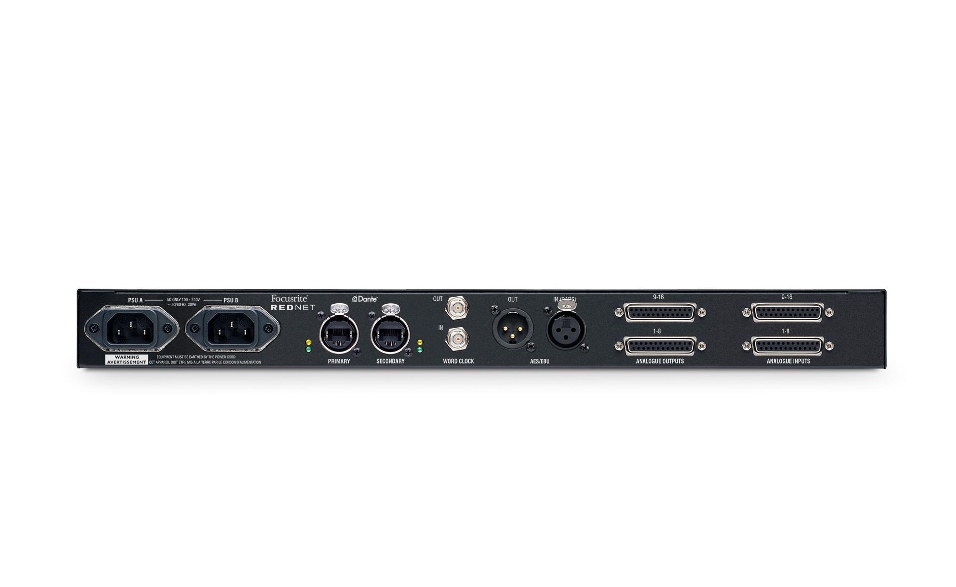 Focusrite Pro RedNet A16R 16-Channel Line-Level Dante AD/DA With Network And PSU Redundancy REDNET-A16R