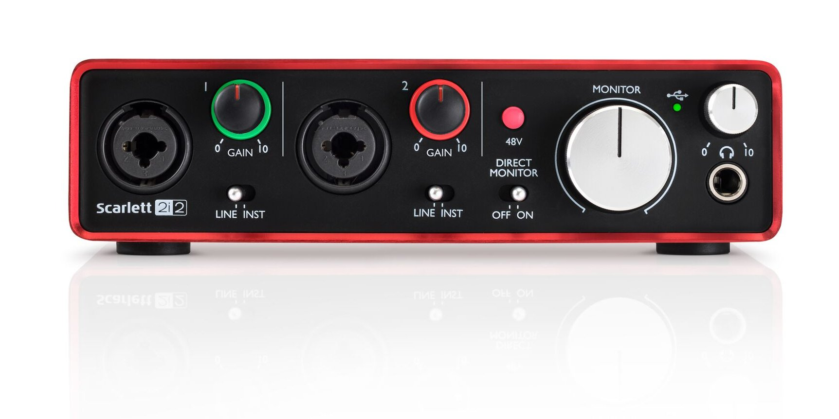 focusrite scarlett 2i2 v2 2x2 usb audio interface 2nd generation full compass systems. Black Bedroom Furniture Sets. Home Design Ideas