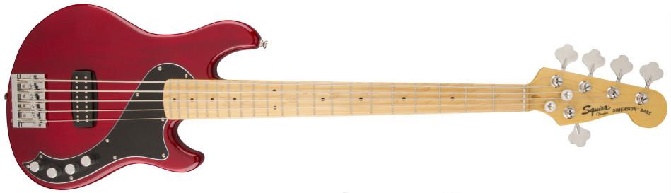 Crimson Red Transparent 5-String Electric Bass