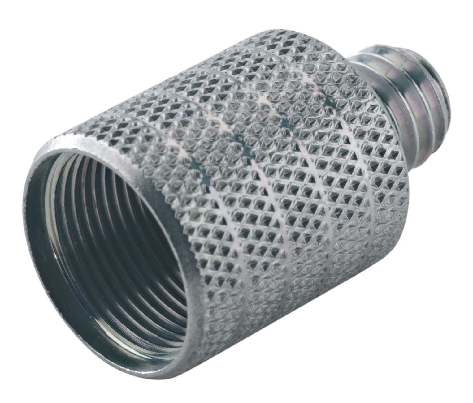 """Zinc-Plated Threaded Mic Stand Adapter with Knurled Surface, 5/8"""" 27 Gauge Female to 3/8"""" Male"""