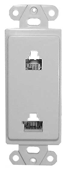Designer Wall Plate (Dual 6 & 8 Conductor (6P6C / 8P8C) for Voice & Data) in White
