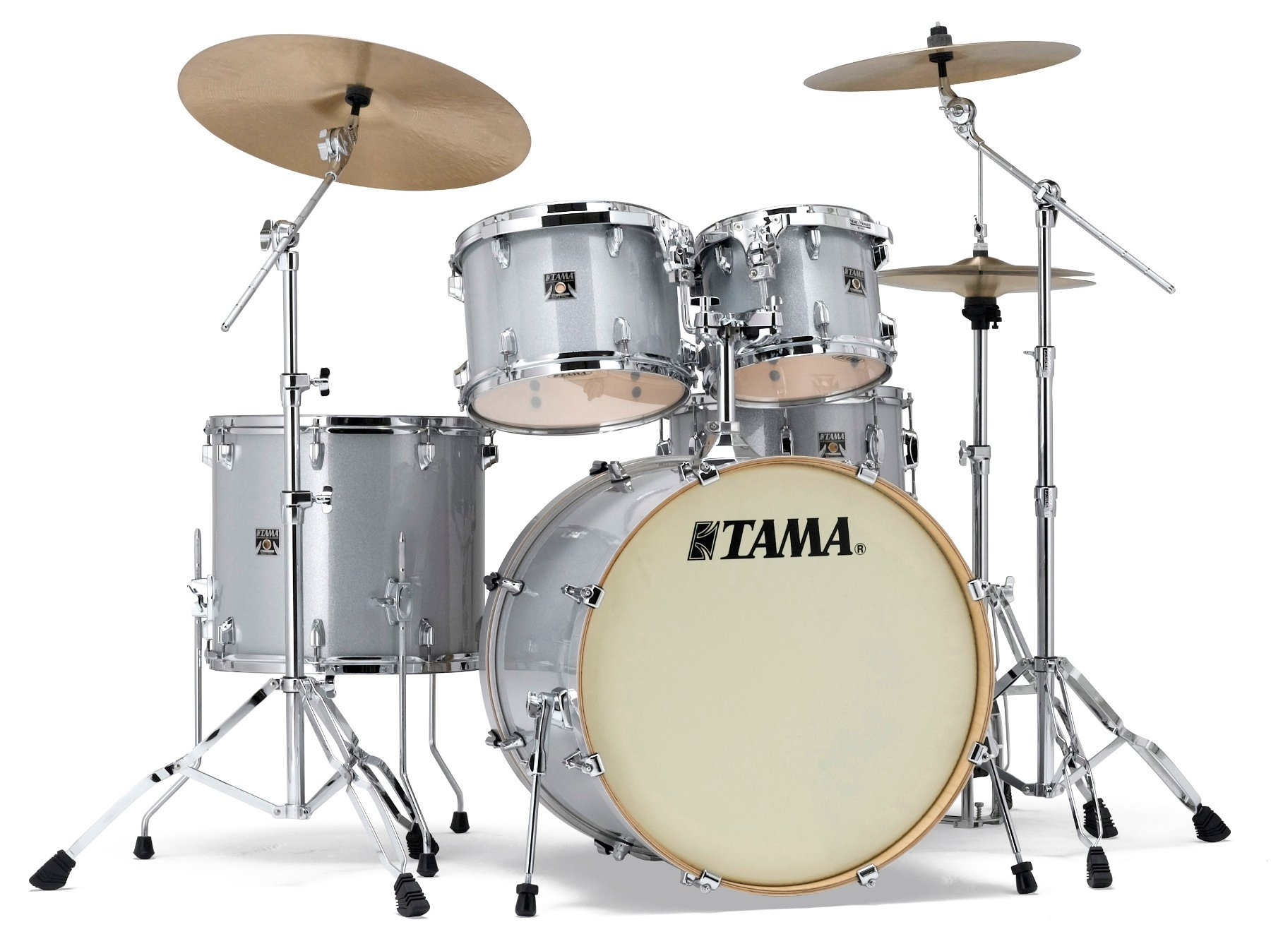 """5-Piece Superstar Classic Shell Pack with 22"""" Bass Drum, White Sparkle Finish"""