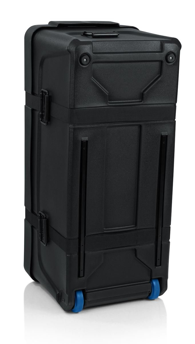 Deluxe Molded Drum Hardware Trap Case with Removable Tray and Recessed Wheels