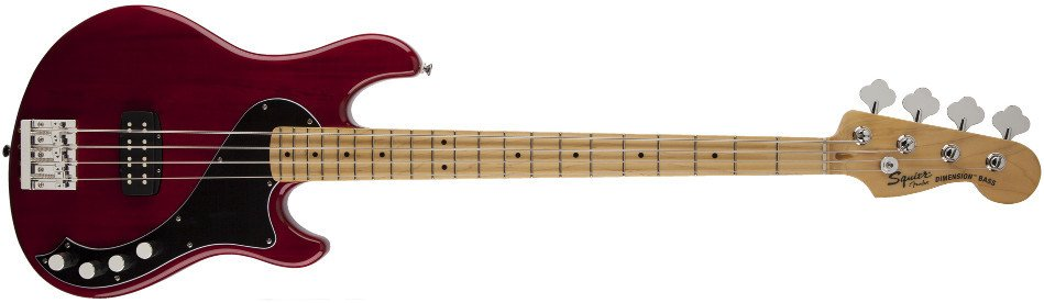Crimson Red Transparent 4-String Electric Bass