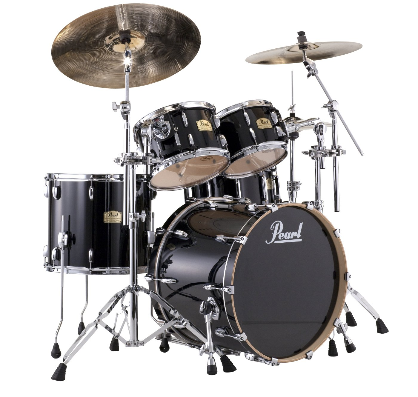 Pearl Drums SSC924XUP/C/103 4-Piece Session Studio Classic Shell Pack, Piano Black Finish SSC924XUP/C/103