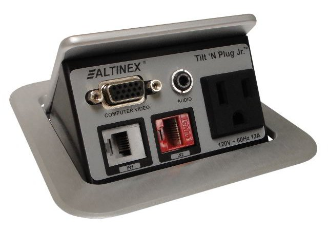Altinex TNP121S  Tilt 'N Plug Jr. Tabletop Interconnect Box in Silver TNP121S