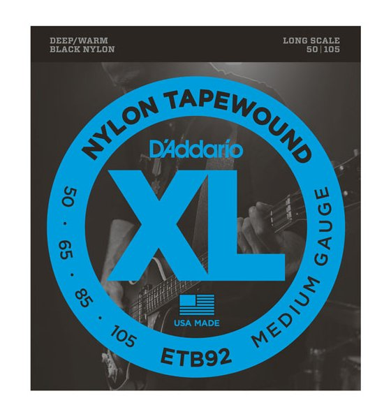 Black Nylon Tapewound Bass Strings, 50-105, Long Scale