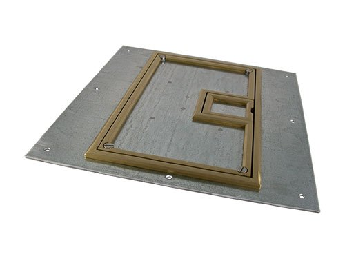 "FSR, Inc FL-600P-BLP-C  U-Access Cover for FL-600P Floor Box, with 1/4"" Brass Beveled Flange FL-600P-BLP-C"