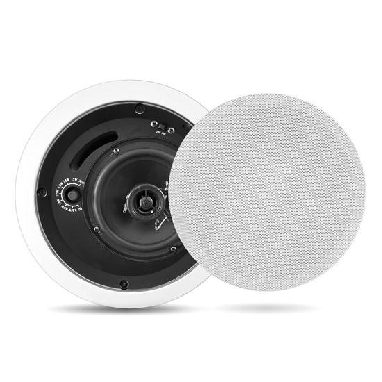 In-Wall / In-Ceiling 8'' Enclosed Speaker System, 70 Volt Transformer, Rotary Tap Select, Flush Mount, 300 Watt, Single Speaker