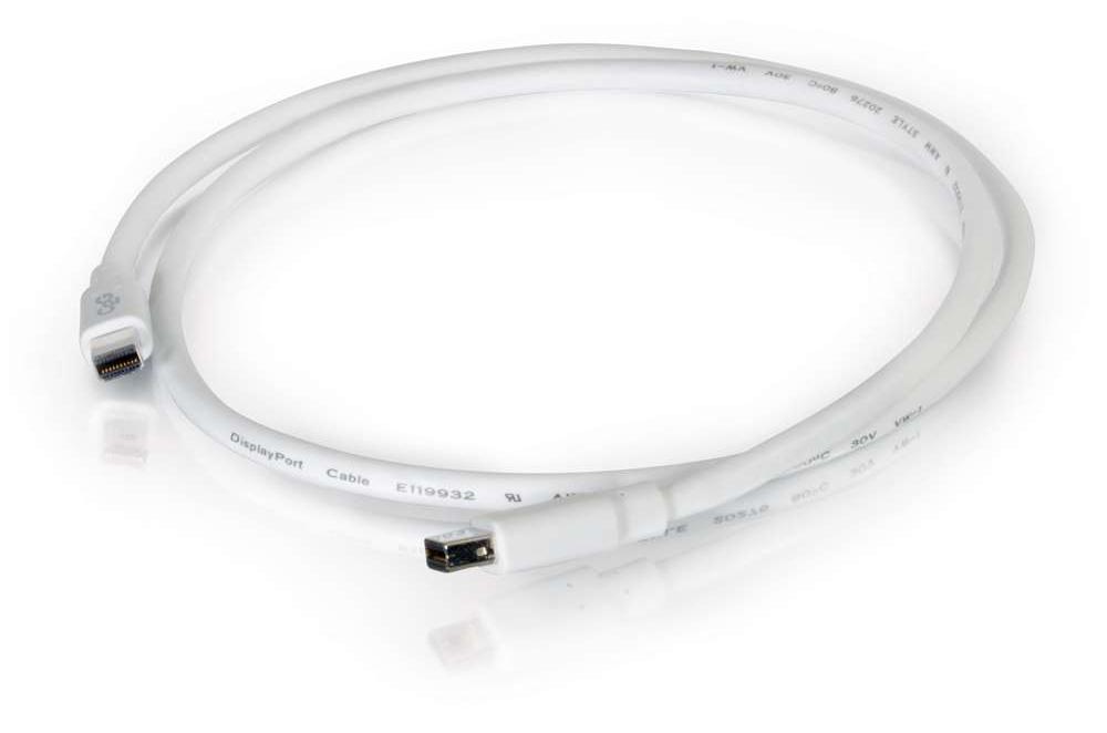 Mini DisplayPort Male to Mini DisplayPort Male, White