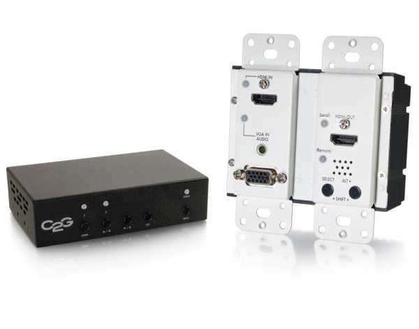 HDMI, VGA + Stereo Audio to HDMI HDBaseT Over Cat5 Extender Kit