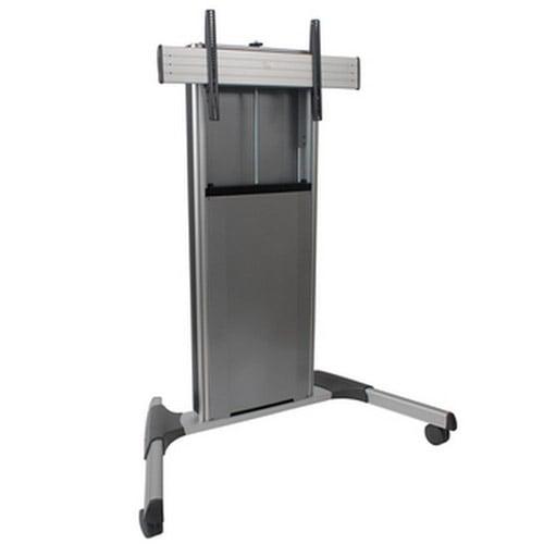 Manual Height Adjustable Mobile AV Cart in Silver