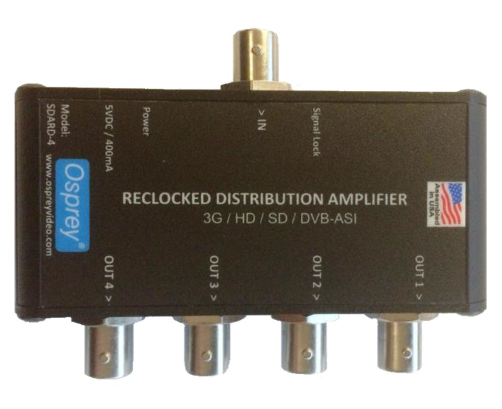 1:4 Equalized & Reclocking 3G Distribution Amplifier with DV