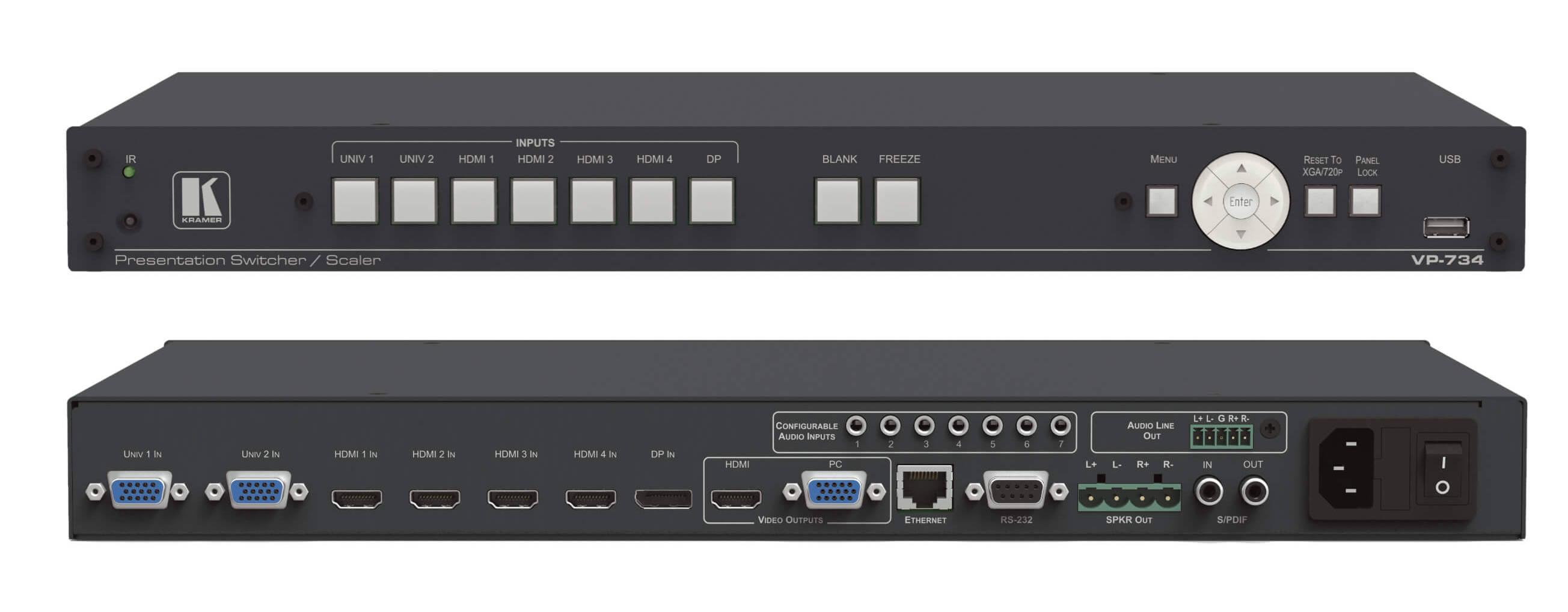 Kramer VP-734 7-Input 4K UHD Presentation Switcher/Scaler VP-734