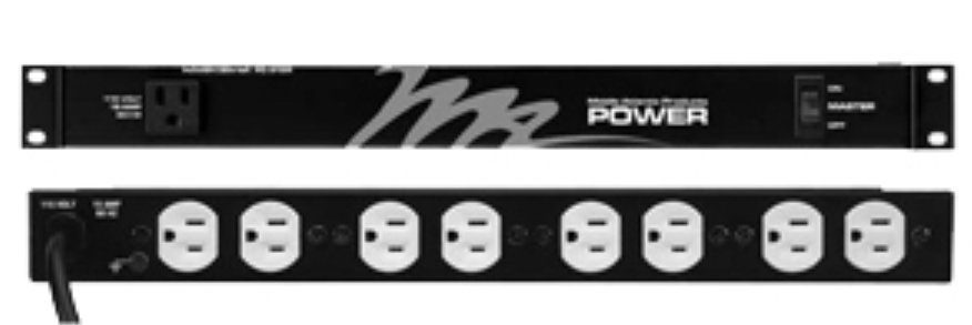 9 Outlet (8 rear, 1 front) Rackmount Power Strip, 15 Amp