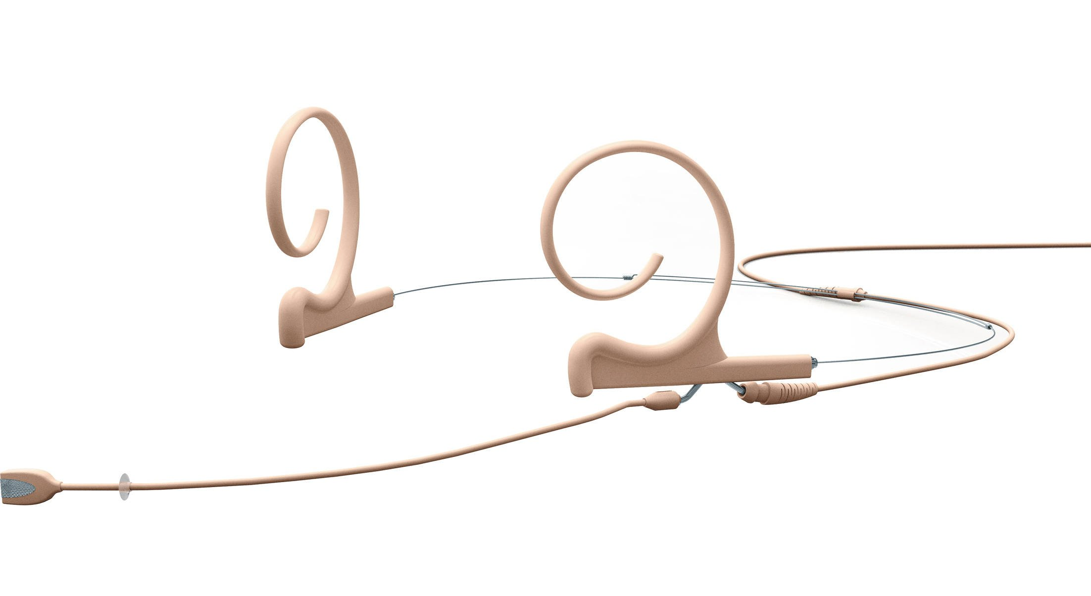 Headset Microphone With Medium Boom, Dual Ear, Beige