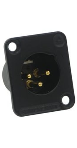 DE Series 3-Pin Male XLR Panel Mount Connector in Black