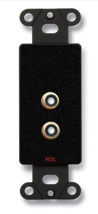 Dual Phono Jacks On Decora Wall Plate, Solder Type, Black