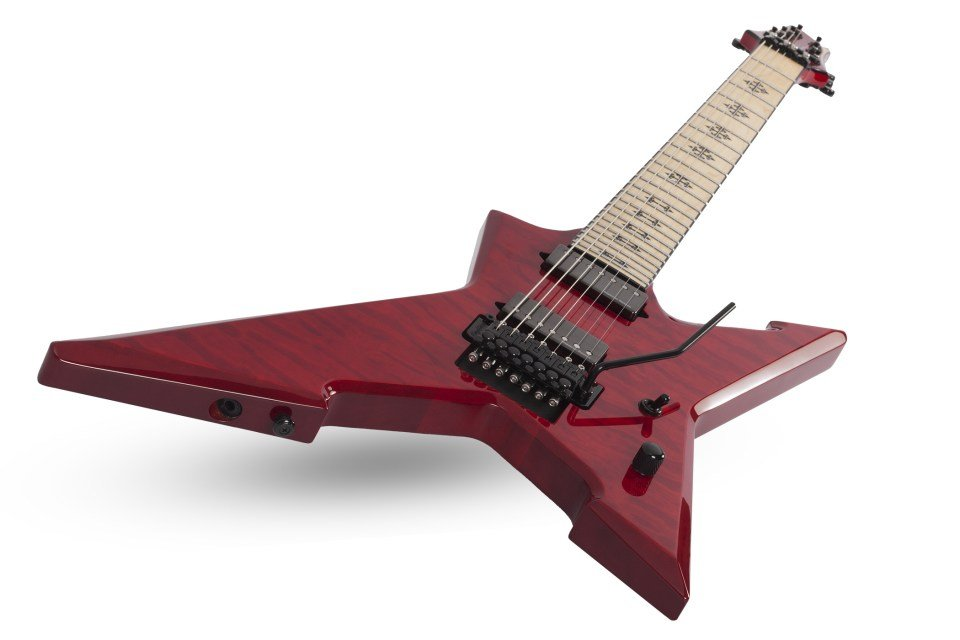 7-String Floyd Rose Solid-Body Electric Guitar, See-Thru Cherry Finish