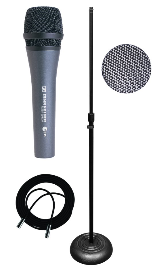 with e 835 Microphone, Stand, Popper Blocker, and Cable
