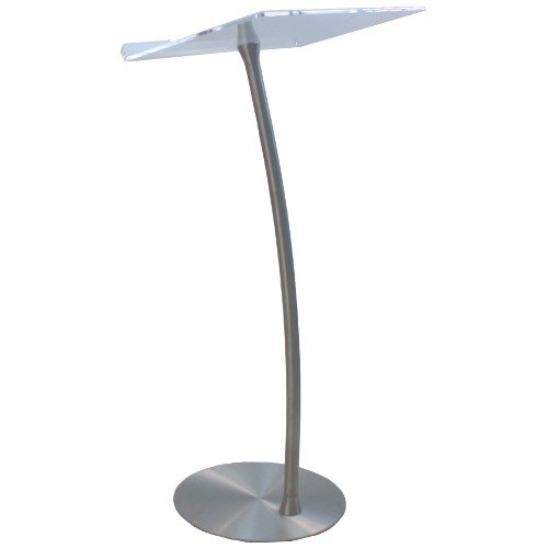 Acrylic Steel Column Arc Lectern with Clear Reading Surface