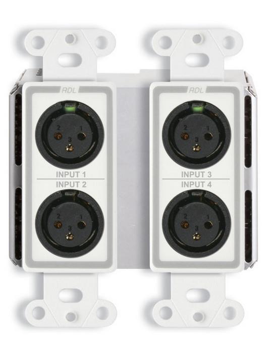 Wall-Mounted Bi-Directional Mic/Line Dante Interface 4 x 2