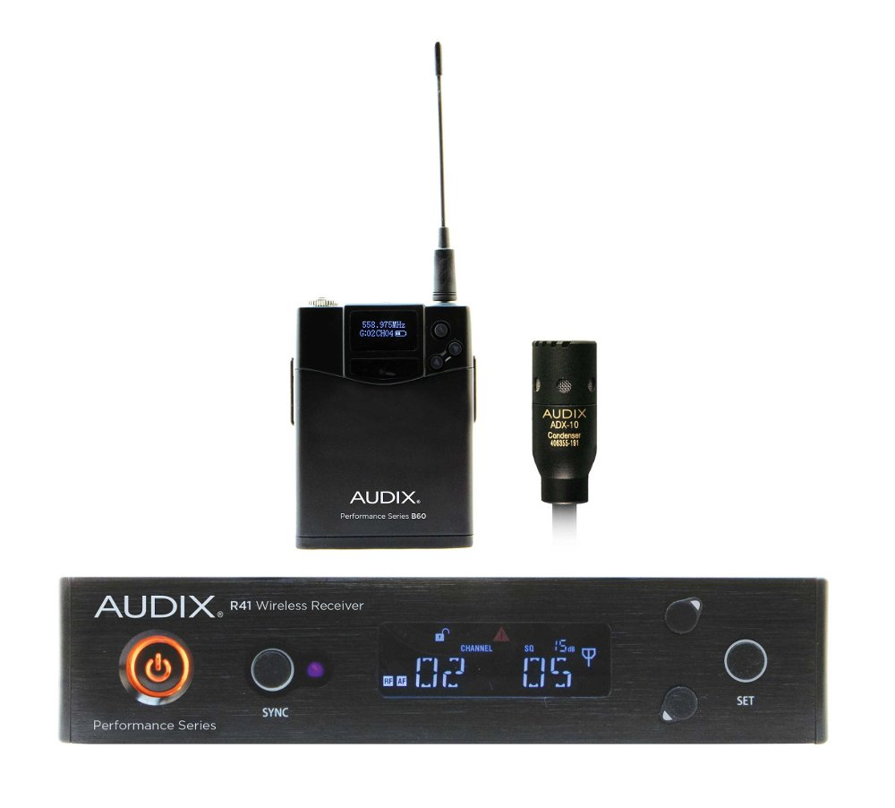 Audix AP41 L10 Combination R41 Diversity Receiver, H60/OM2 Handheld Transmitter and B60 Bodypack Transmitter with ADX10 Lavalier Microphone AP41-L10