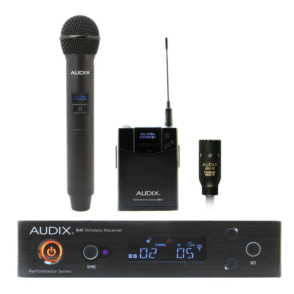 Combination R41 Diversity Receiver, H60/OM2 Handheld Transmitter and B60 Bodypack Transmitter with ADX10 Lavalier Microphone